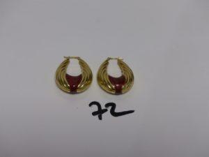 2 grosses créoles ciselées en or motif central émaillé (creuses). PB 9,8g