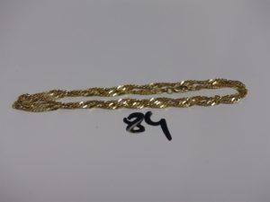 1 chaîne maille torsadée en alliage 14K (L52cm). PB 9,2g