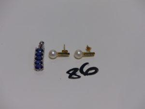 1 pendentif en or orné de pierres bleues et de petits diamants (L3cm) 2 boucles en or ornées d'1 perle et de petits diamants. PB 5,9g
