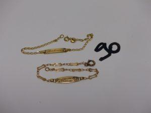 2 bracelets gourmettes gravés en or (L15 et 16cm). PB 4,1g