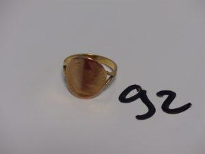 1 bague en or sertie d'1 pièce de 10Frs retournée (Td66). PB 5,7g