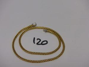 1 collier maille palmier en or fermoir orné de petits diamants (L40cm). PB 38,2g