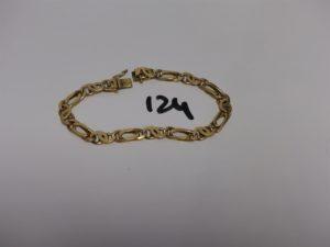 1 bracelet maille fantaisie en alliage 14K (L22cm, soudures BT). PB 32g