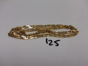 1 collier maille fantaisie en alliage 14K (L61cm, soudure BT). PB 79g
