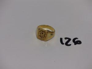 1 chevalière en or initiales gravées (Td61). PB 15g