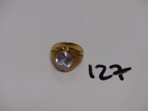 1 grosse bague en or rehaussée d'1 pierre (Td61). PB 11g