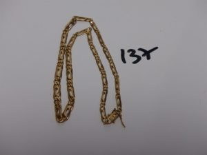 1 collier maille alternée en or (L41cm). PB 19,4g