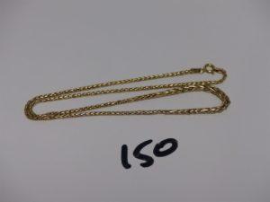 1 collier maille palmier en alliage 9k (L40cm, abîmé). PB 3,3g