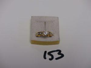 1 bague en or sertie d'1 diamant TL brillant d'env 0,80 cts épaulé de 6 diamants baguette (Td53) PB 6,1g
