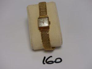 """1 montre de Dame bracelet et boîtier or de marque """"Omega"""" (L17cm). PB 43,6g"""