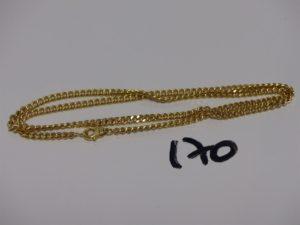 1 chaîne maille gourmette en or (L50cm). PB 22,8g