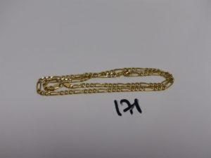 1 chaîne maille alternée en or (L50cm). PB 10,6g