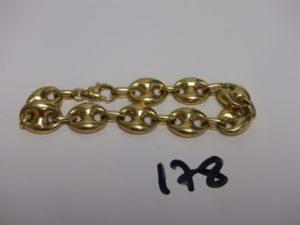 1 bracelet maille grain de café en or (L20cm). PB 21,1g