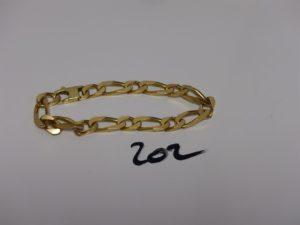 1 bracelet maille alternée en or (L22cm). PB 43,4g