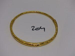 1 collier creux à décor floral (fendu donc à restaurer, diamètre 12,5cm). Or 23k PB 39,5g