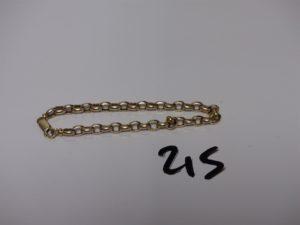 1 bracelet maille jaseron en alliage 9K (L18cm). PB 4,5g