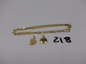 1 chaîne maille alternée en or (L45cm) et 2 pendentifs en or (1 tête de lion, 1 oeil motif central abimé). PB 9,1g
