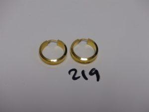 1 paire de créoles en or (diamètre 2,5cm). PB 5,3g