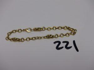 1 bracelet maille tressée en or (L18cm). PB 7,2g