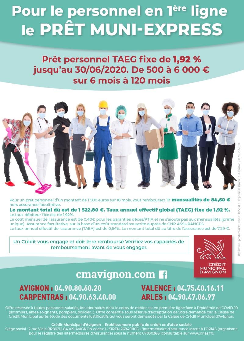 publicité pour un prêt pour le personnel hospitalier : photo un groupe de soignants