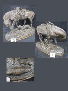 1 Bronze signé GAYRARD représentant un cheval et un épagneul. L. 24cm x l.12cm x H 18,5cm