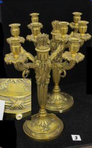 2 flambeaux montés en bronze de style Louis XVI à 4 branches, signé A.MARIONNET H. 34 cm x L.26cm