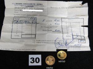 1 Pièce 25fr Indépendance du Burundi (Mwambusta IV) bordereau de vente année 1966. PB 8g
