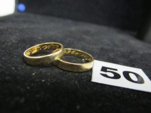 2 Alliances en or (TD 58 et 52). PB 6,9g