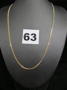 1 chaine en or maille gourmette (L 42cm). PB 4,2g