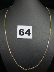 1 chaine en or maille alternée (L 44cm). PB 3,7g