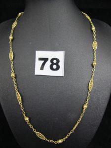 1 collier en or maille boule, alternée de motifs filigranés (L 43cm ). PB 9g