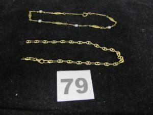 1 Bracelet maille alternée de petites perles et motifs ajourés (L21cm) et 1 bracelet maille grain de café, cassé (L 19cm). Le tout en or. PB 4,9g