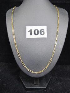 1 Chaine or maille forçat rectangulaire (L 64cm). PB 17,2g