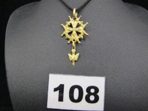 1 croix huguenotte en or (L4cm). PB 3,6g