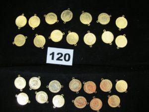 27 Breloques en or à motif style pièce (ornements de ceinture). PB 29,8g