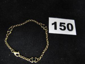 1 Bracelet en or maille jaseron orné de 3 petites pierres (L 17,5cm, manque attache de bout). PB 4,4g
