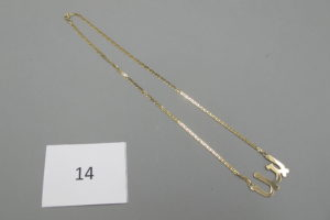 1 Collier d'identité en or en inscription arabe(L43cm).PB 8g.