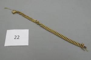 1 Bracelet en or maille américaine usagé(L21cm)avec chainette de sécurité. PB 12,57g.