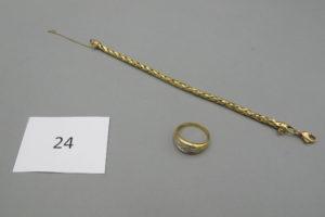 1 Bague 2 ors(TD59),1 bracelet en or maille palmier usagé(L19cm).PB 15,2g