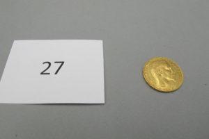 1 pièce en or 22 K de 20 FRS de 1854. PB 6,4g.
