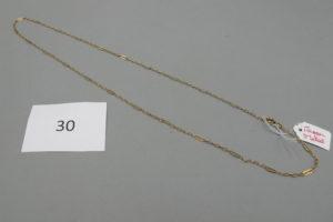 1 Chaine en or maille alternée(L58cm) (fermoir en métal).PB 4,6g.