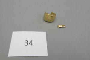 """1 Chevalière en or brisée et gravée""""KA"""" PB 9,7g."""