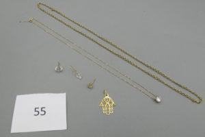 1 Collier en or maille jazeron(L54cm),1 collier en or rehaussé d'un pendentif à décor d'une pierre blanche(L42cm),1 pendentif en or à décor d'une main,1 boucle en or rehaussée d'une pierre blanche(grosse),1 boucle en or rehaussée d'une pierre blanche,1 pendant en or rehaussé d'une pierre blanche en forme de coeur.PB 9g.