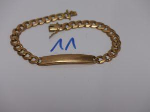 1 bracelet gourmette en or non gravée (L22cm). PB 30,4g
