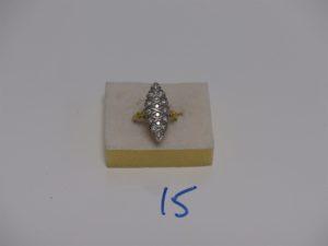 1 bague marquise en or ornée d'un pavage de petits diamants (td52). PB 5,2g