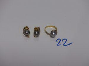 1 bague et 1 paire de boucles en or, le tout rehaussé d'une perle grise et de petits diamants (td46). PB 9,6g