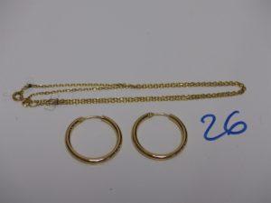1 chaîne maille forçat en or (L42cm) et 1 paire de créoles en or (1 un peu abimée). PB 4,5g