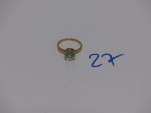 1 bague en or rehaussée d'une pierre bleue ciel (td53). PB 2,8g