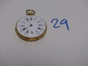 1 montre de gousset en or (modèle ancien). PB 27,7g
