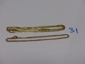 2 chaînes en or (1 maille haricot usée L45cm et 1 maille gourmette L46cm). PB 7,9g
